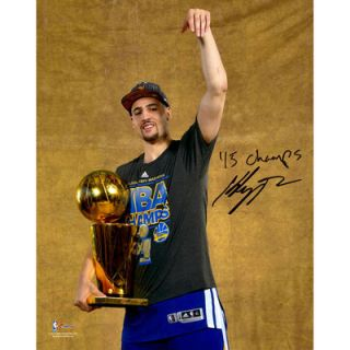 Klay Thompson Golden State Warriors  Authentic Autographed 8 x 10 2015 NBA Finals Champions Celebration Shot Photograph with 2015 NBA Champs Inscription