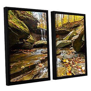 ArtWall Blue Hen Falls 3 2 Piece Canvas Set 32 x 48 Floater Framed (0yor003b3248f)