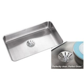 Elkay ELUHAD281650PD Gourmet 29 1 2 x 17 1 2 Single Basin Sink in Stainless Steel with 4 7 8 Bowl Depth and Perfect Drain