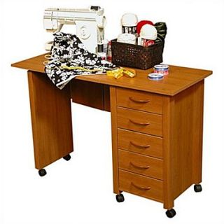 Venture Horizon VHZ Office 43 W Mobile Craft Computer Desk; Oak