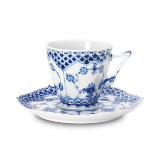 Royal Copenhagen Blue Fluted Full Lace 5 oz. Cup and Saucer
