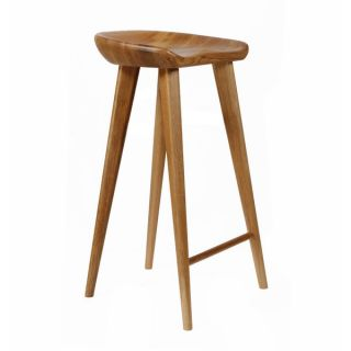 SB Tractor Walnut Contemporary Carved Wood Bar Stool   18353057