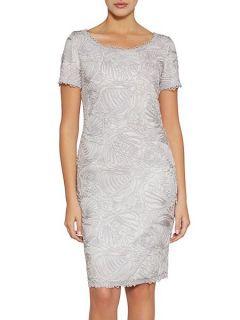 Gina Bacconi Short sleeve round neck embroidery dress Cream