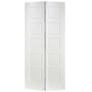 Masonite 36 in. x 80 in. x 1 3/8 in. Riverside White 5 Panel Equal Smooth Hollow Core Interior Closet Bi fold Door 10706