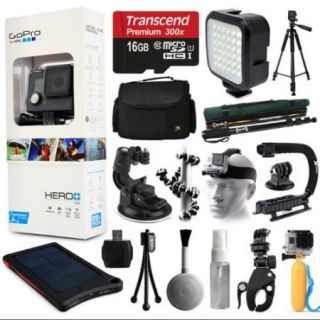 GoPro HERO+ LCD Camera Camcorder (CHDHB 101) with Extreme Accessories Bundle includes 16GB Card + Opteka X Grip + LED Light + Case + Tripod + Selfie Stick + Car/Bike Mount + Solar Charger + More