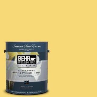 BEHR Premium Plus Ultra 1 gal. #P310 5 Solar Energy Satin Enamel Interior Paint 775401