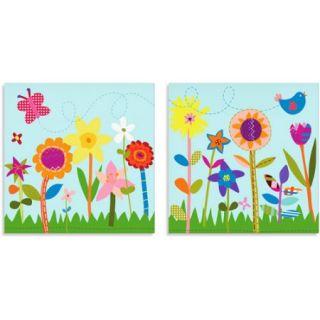 Oopsy Daisy Too Flower Garden/Butterfly Canvas Wall Art, Set of 2