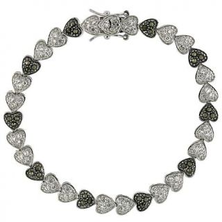 "CZ and Marcasite Sterling Silver ""Heart"" 7 1/8"" Line Bracelet   4731408"