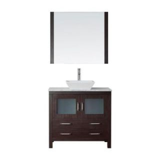 Virtu USA Dior 36 in. W x 18.3 in. D Vanity in Espresso with Marble Vanity Top in Carrara White with White Basin and Mirror KS 70036 WM ES