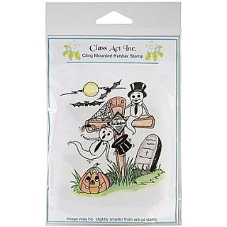 Class Act 4 1/4 x 5 3/4 Cling Mounted Rubber Stamp, RIP Ghost