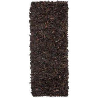 Safavieh Leather Shag Dark Brown 2.3 ft. x 9 ft. Runner LSG421D 29