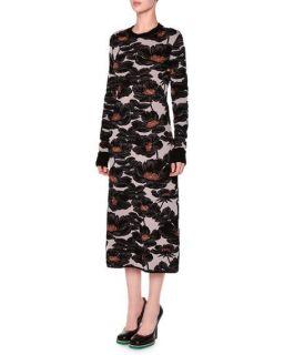 Marni Long Sleeve Jewel Neck Floral Dress, Azalea