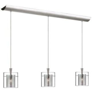 Radionic Hi Tech Industrial Chic 3 Light Satin Chrome Horizontal Pendant with Clear Glass/Chrome Mesh DLSL309 34L CM SC