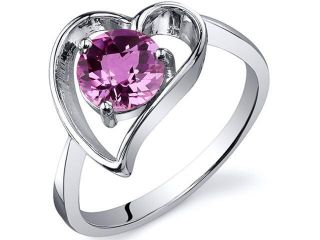 Heart Shape 1.00 carats Pink Sapphire Solitaire Ring in Sterling Silver Size  9, Available in Sizes 5 thru 9
